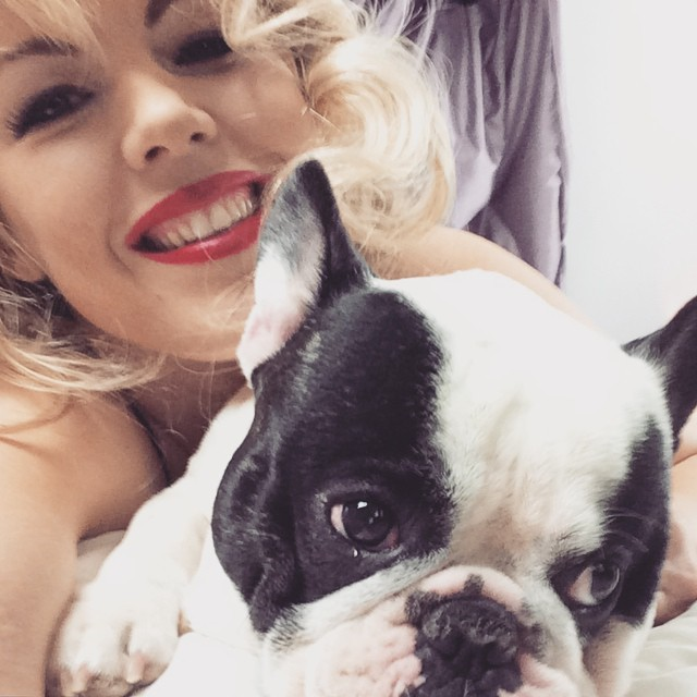Selfie with dog_trevor the french bulldog_red lips