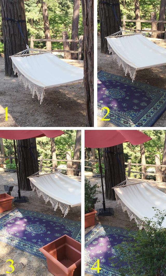 Setting up a backyard boho hammock escape