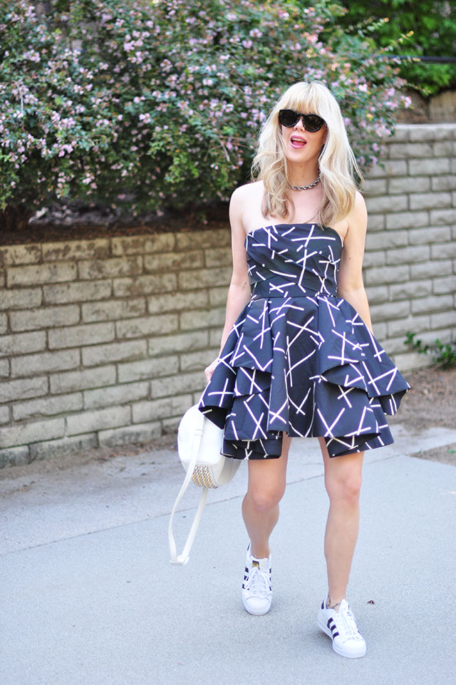 Shaken Up strapless dress with adidas