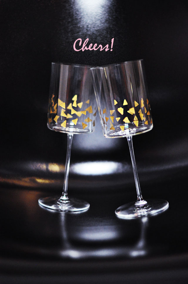 Square wine glasses with gold accents  - cheers