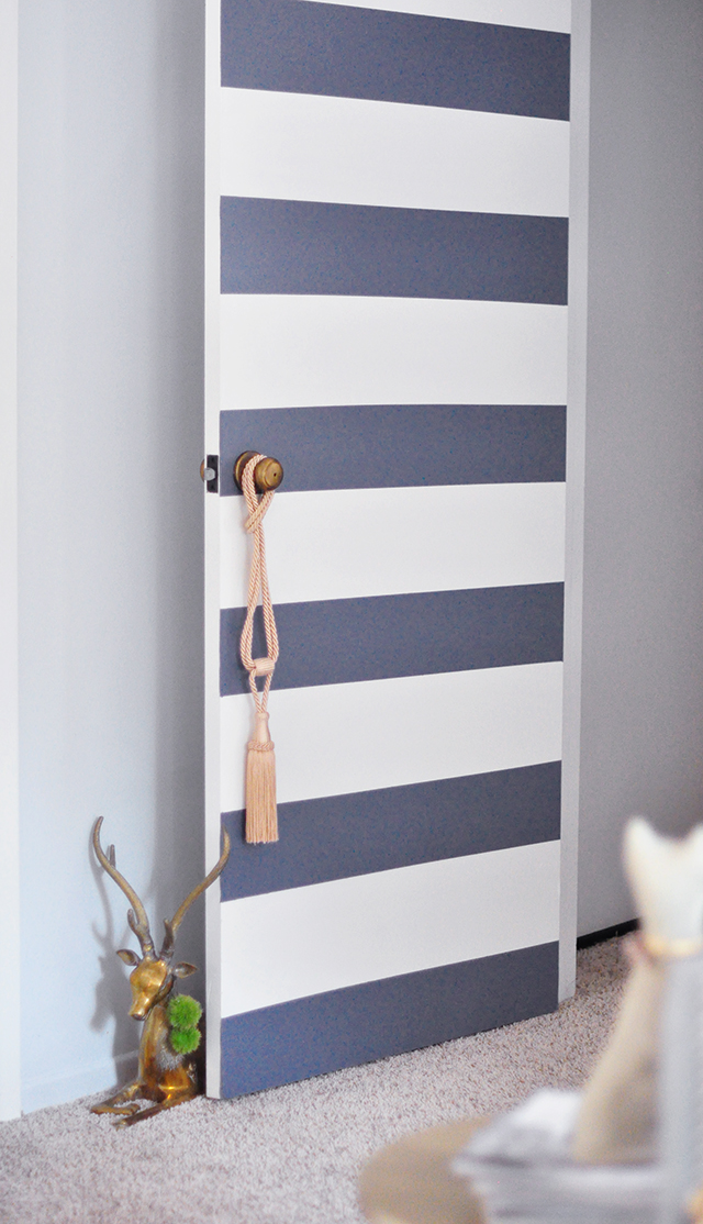 Striped Door makeover_brass door stop