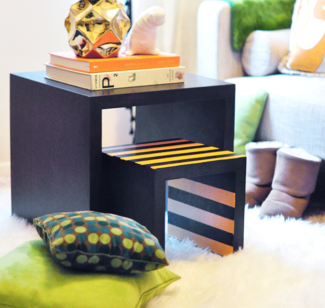 Striped Nesting tables _guest room_reading room decor