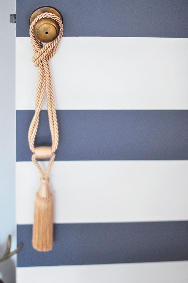 Striped door _ antiqued doorknob_vintage tassel
