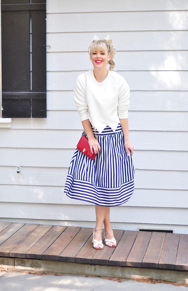 Striped midi skirt_50s modern look