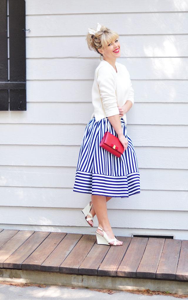 Striped midi skirt_50s modern look_red lips+bangs