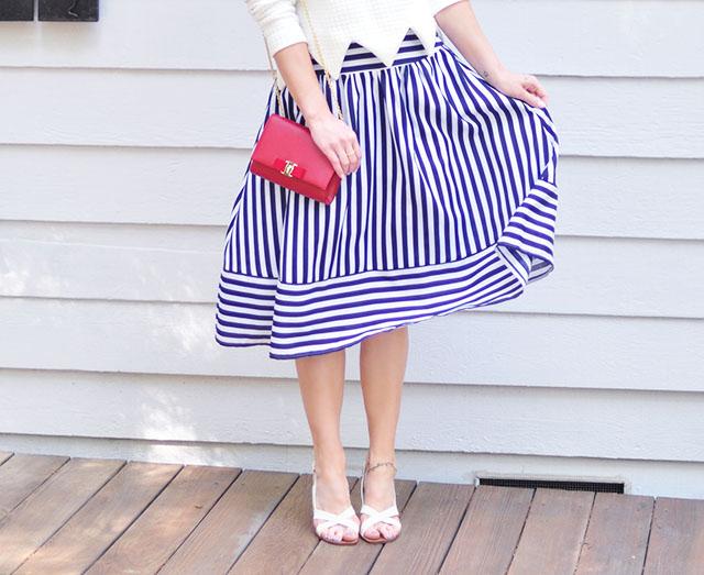Striped midi skirt_red Ferragamo bow bag