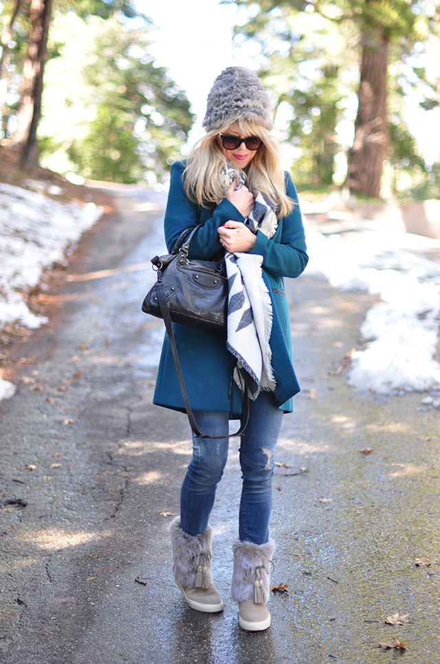 Style in the Snow_teal coat_furry hat