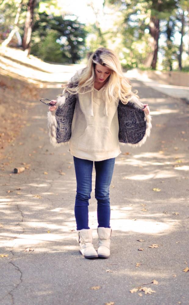 Surf hoodie-fur vest-jeans