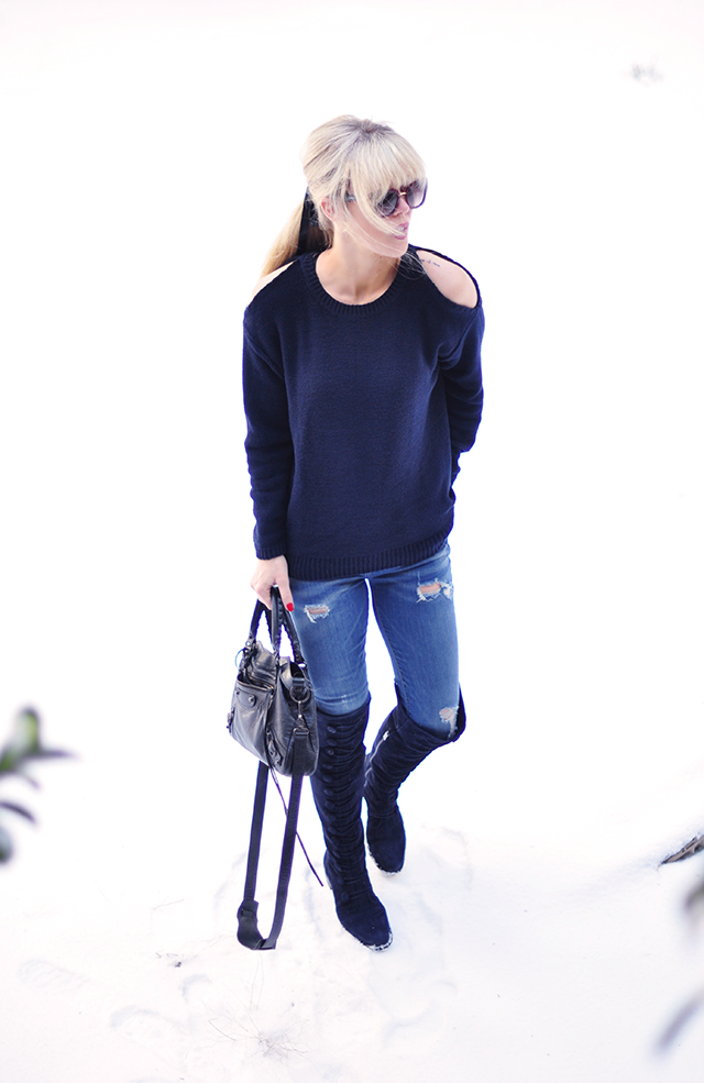 Sweater with cut out shoulders_ jeans_over the knee flat boots