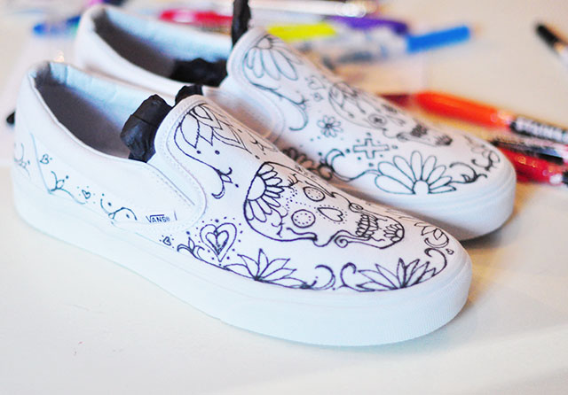 Vans Custom Culture DIY - sugar skull - day of the dead shoes