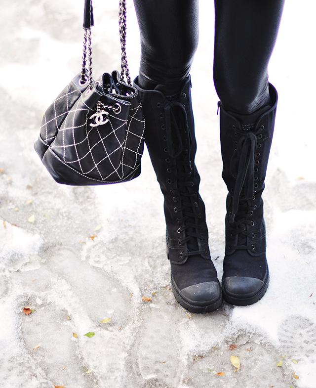 Vintage Chanel mini bucket bag_Marc Jacobs combat boots