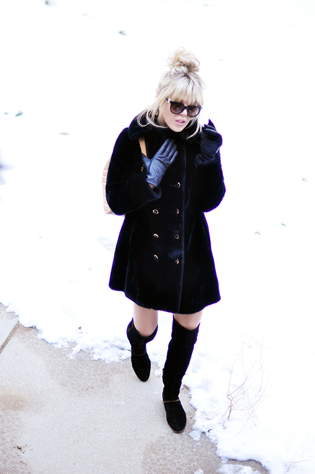 Vintage faux fur '60s coat and boots_ in the snow