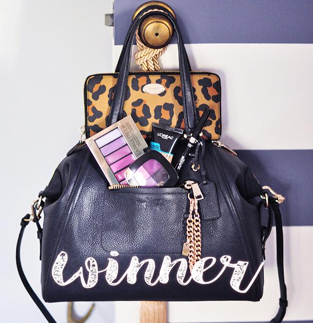 winner-coach-bag_leopard-wallet_loreal-makeup_giveaway