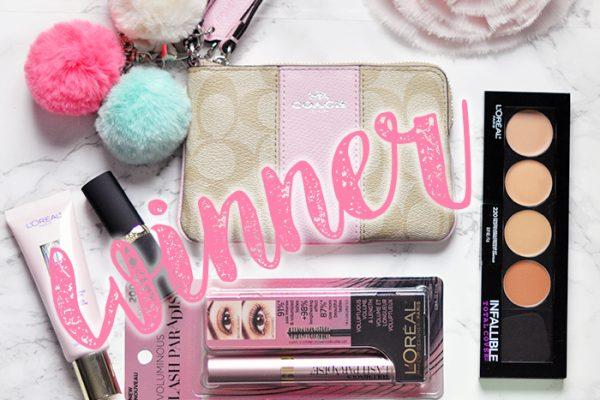 WINNER -lovemaegan giveaway-coach wristlet-loreal makeup