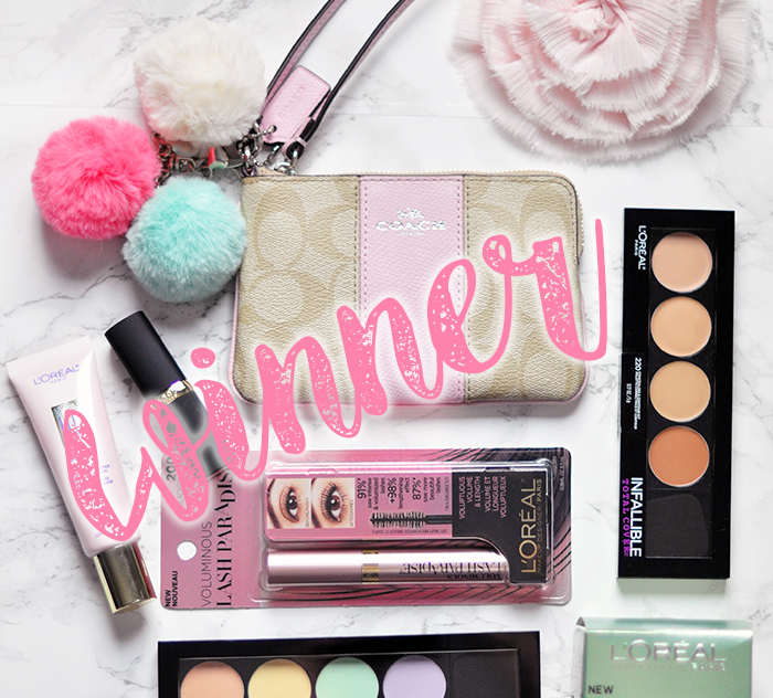 WINNER -lovemaegan giveaway-coach wristlet-loreal makeup
