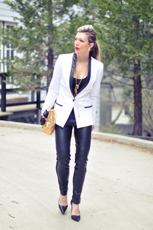 White Blazer-All Black +Gold