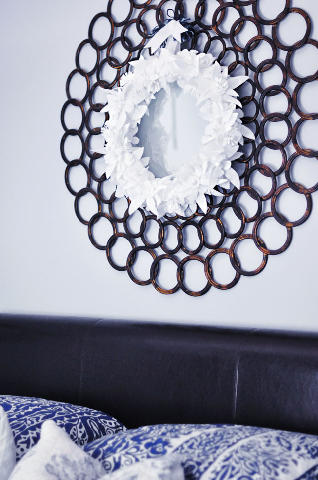Winter White Wreath  on  Circles Mirror + Guest Room