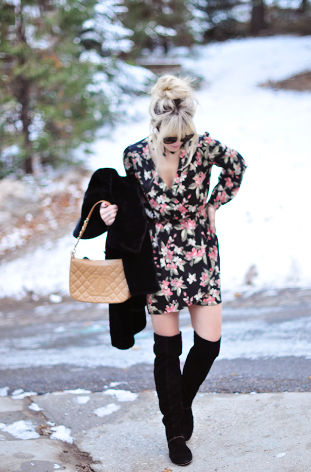 Wrap dress_Suede over the knee boots_chanel bag_winter style