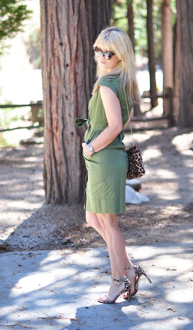 army green marc jacobs shirt dress _leopard accessories