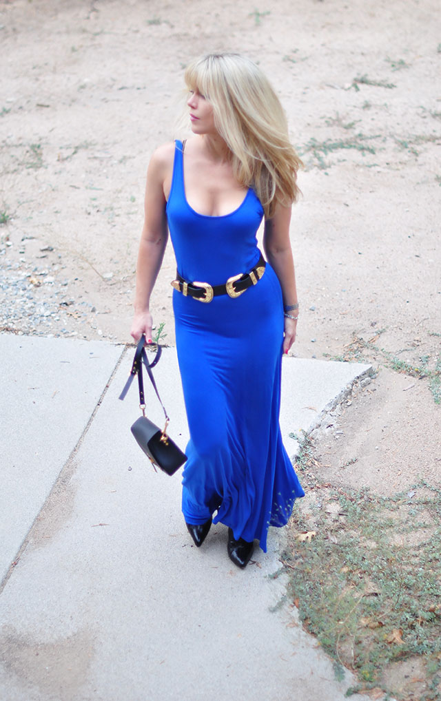 b-low the belt with blue tank dress