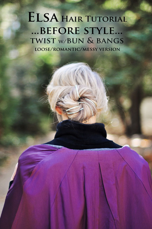 back of elsa hair  -  twist with bun hair tutorial
