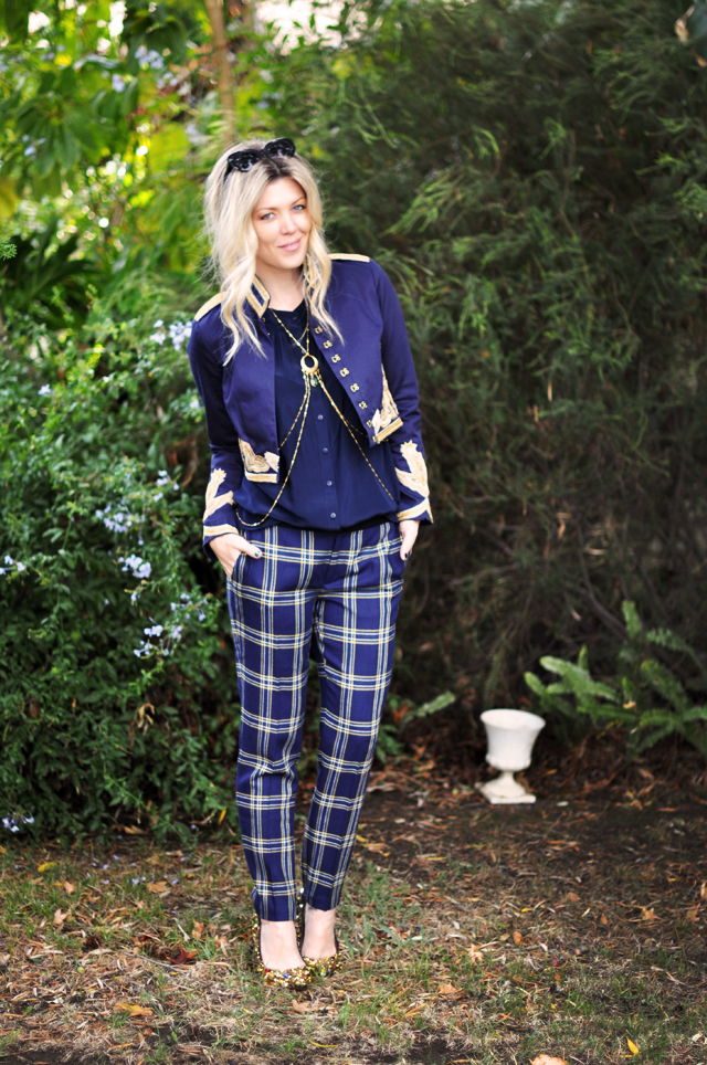 band leader look  - gold and navy - plaid pants