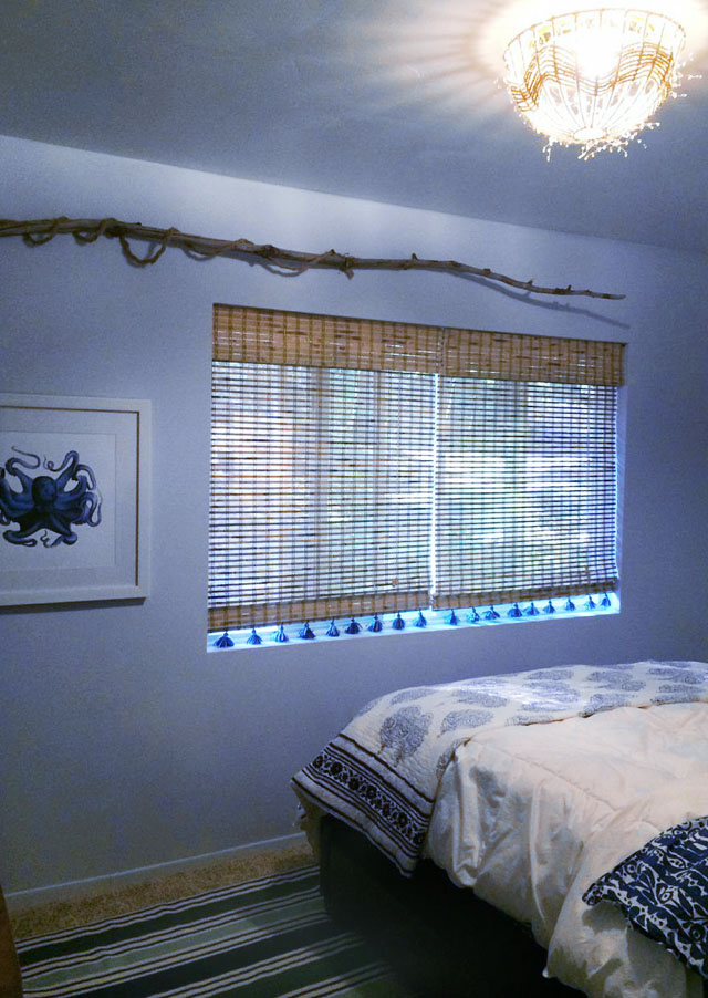 beachy guest room- bamboo shades with tassels