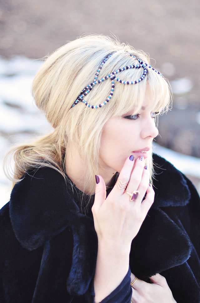beaded headband crown- blonde bangs