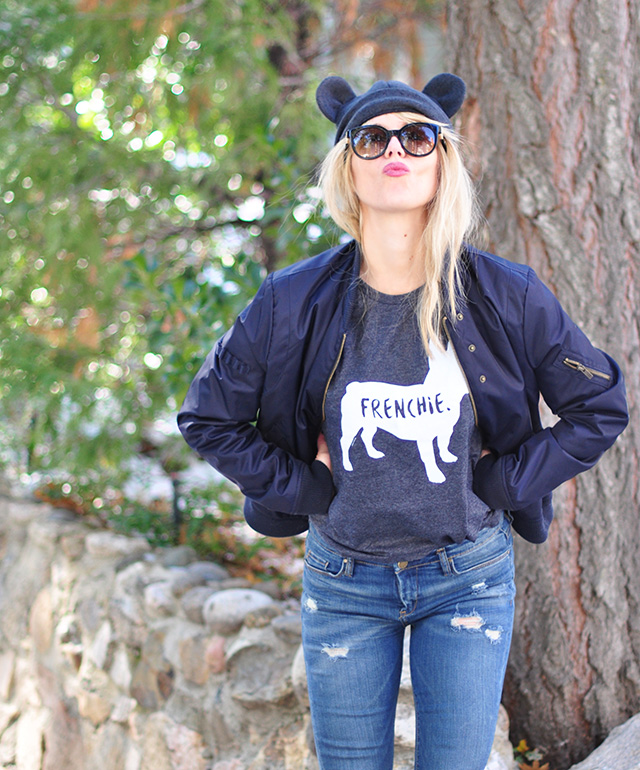 beanie with ears_frenchie t-shirt_flight jacket