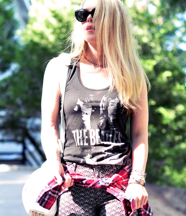 beatles tank -printed jeans-plaid flannel