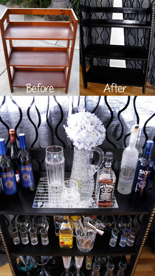 before and after bar shelves