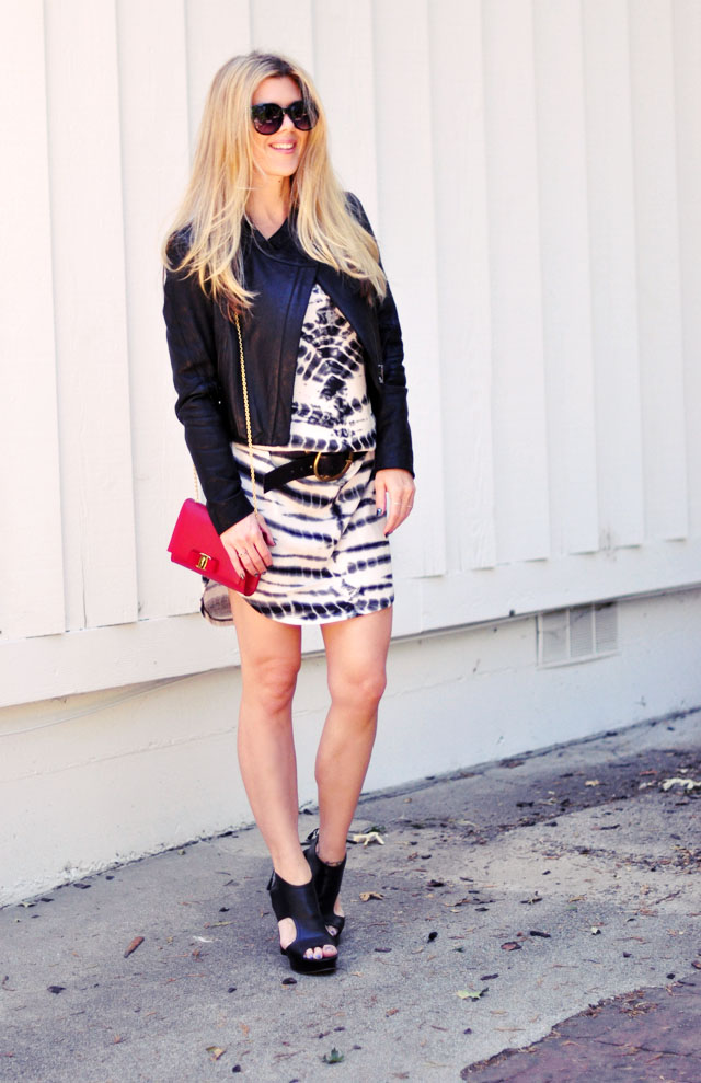 belted dress  - night out edgy-red white and black