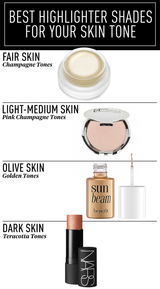 best highlighter shades for strobing for your skin tone