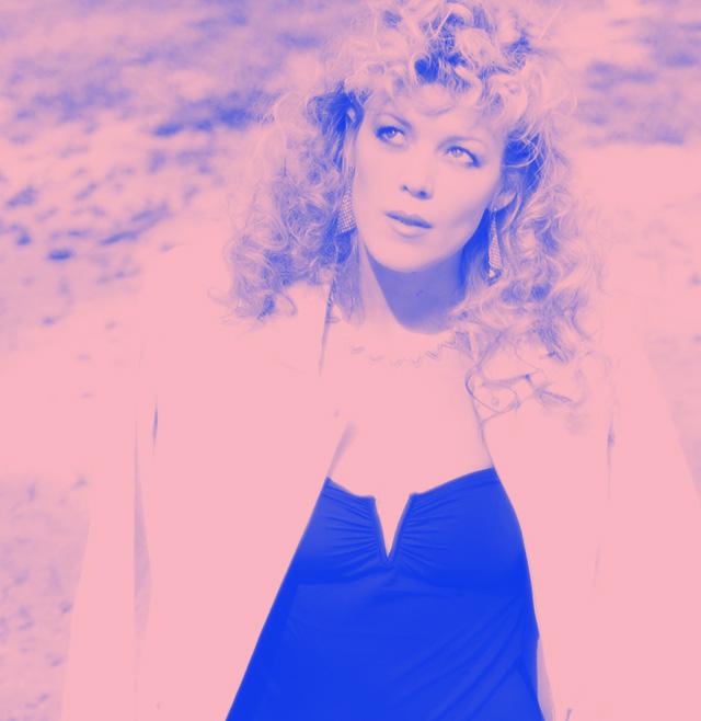 big retro blonde curls_pink-blue