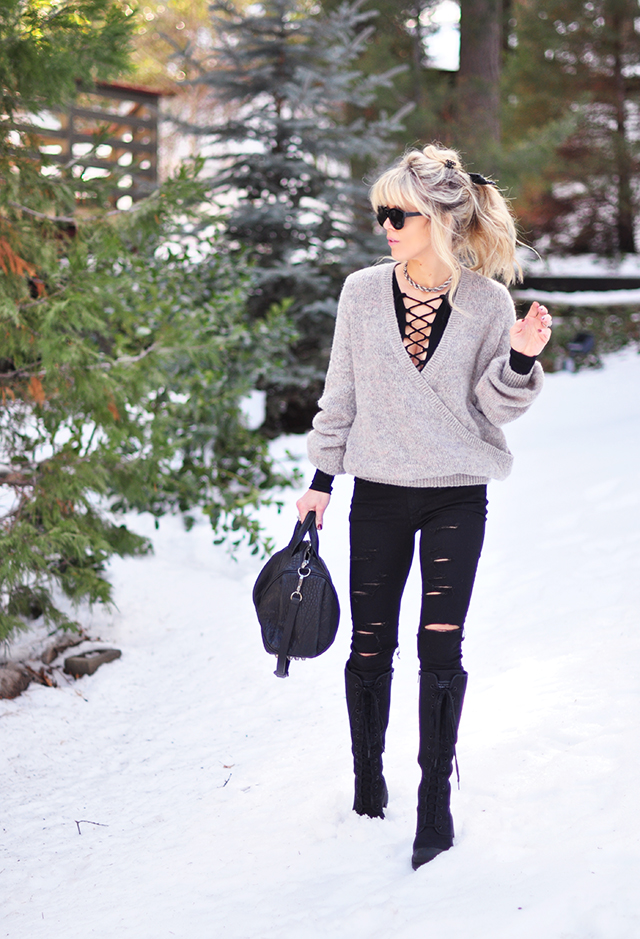 black and gray in the snow