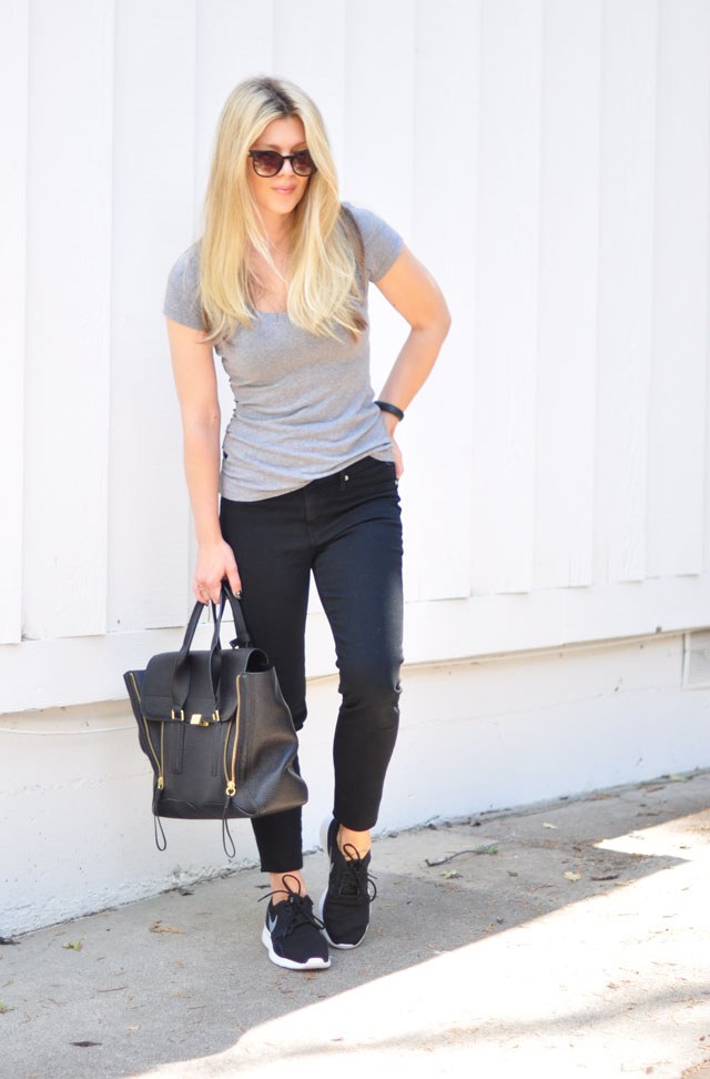 black and gray sporty minimal outfit-nike sneakers