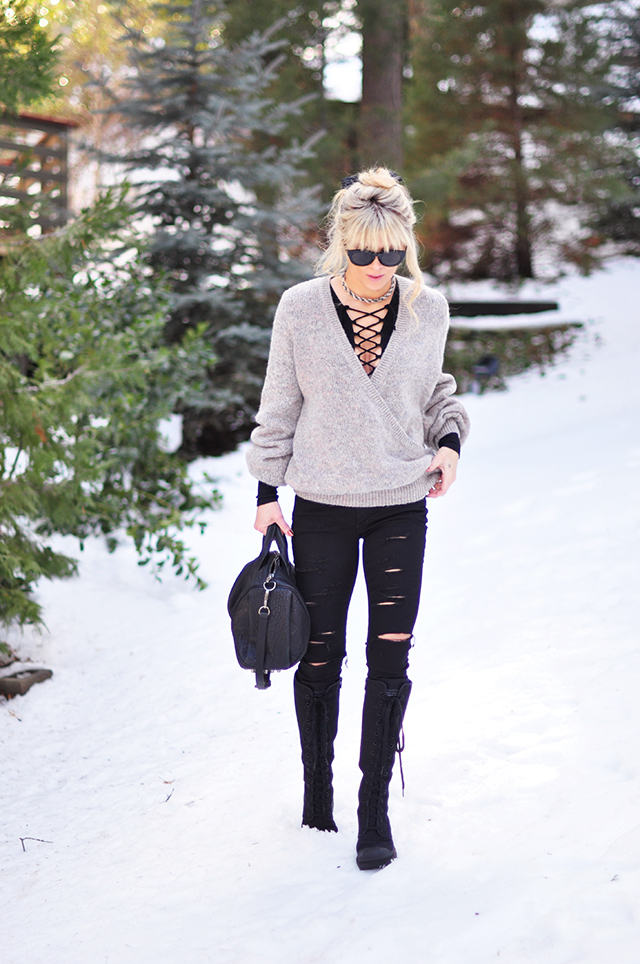black and gray style in the snow