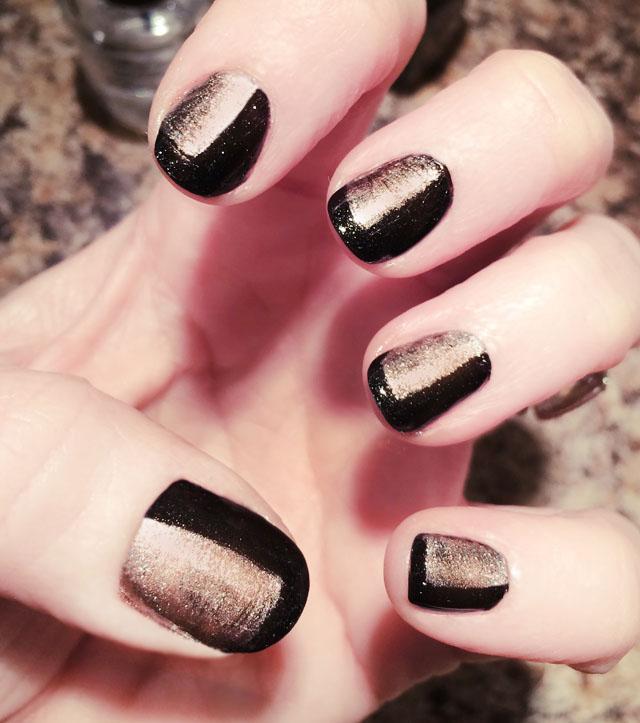 black and rose gold nails-nail art