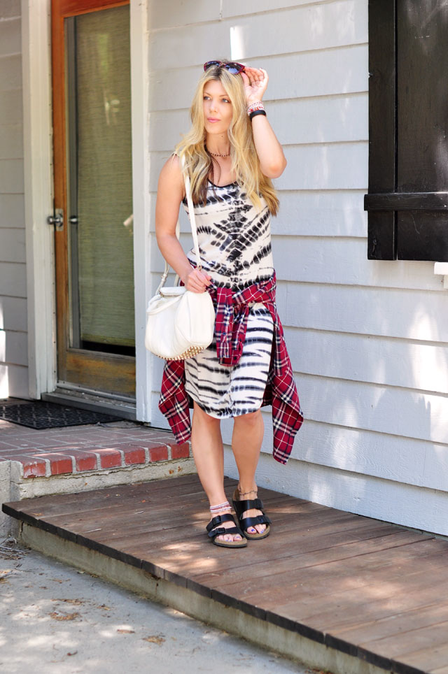 black and white and plaid-TargetStyle dress and birkenstocks