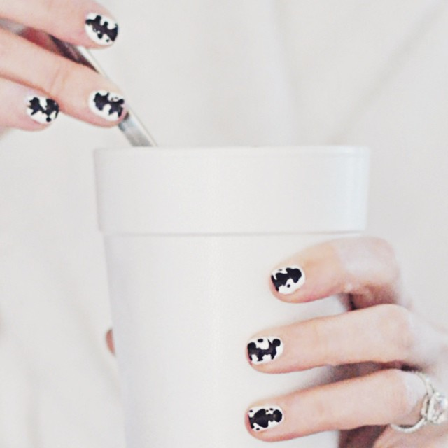 black and white ink blot nails