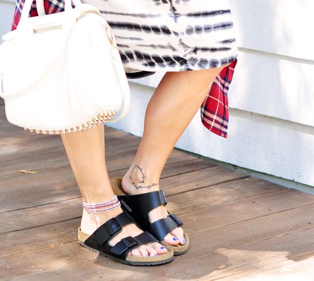 black birkenstocks with black buckle-anklet-ankle tattoo