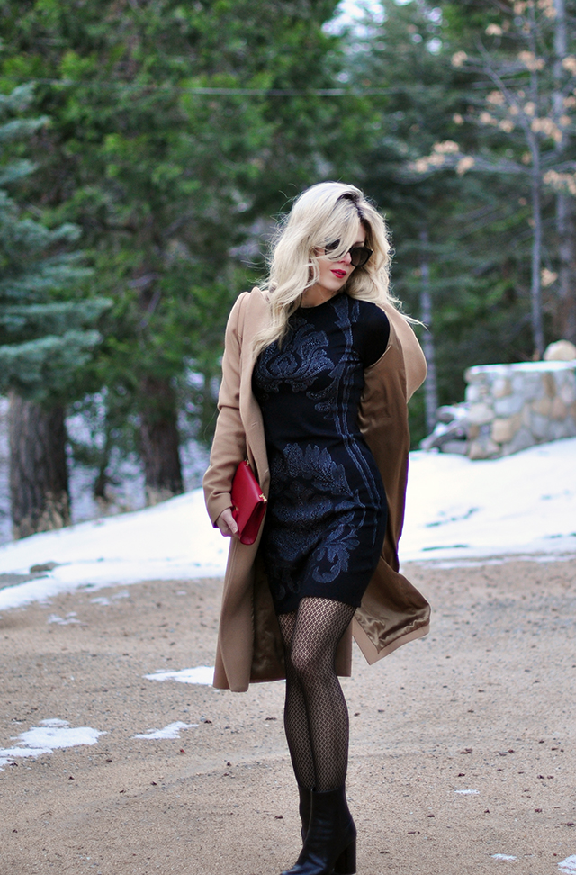 black-dress-with-contour-print-and-camel-coat