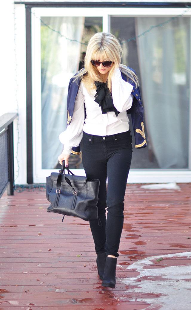 black jeans white blouse