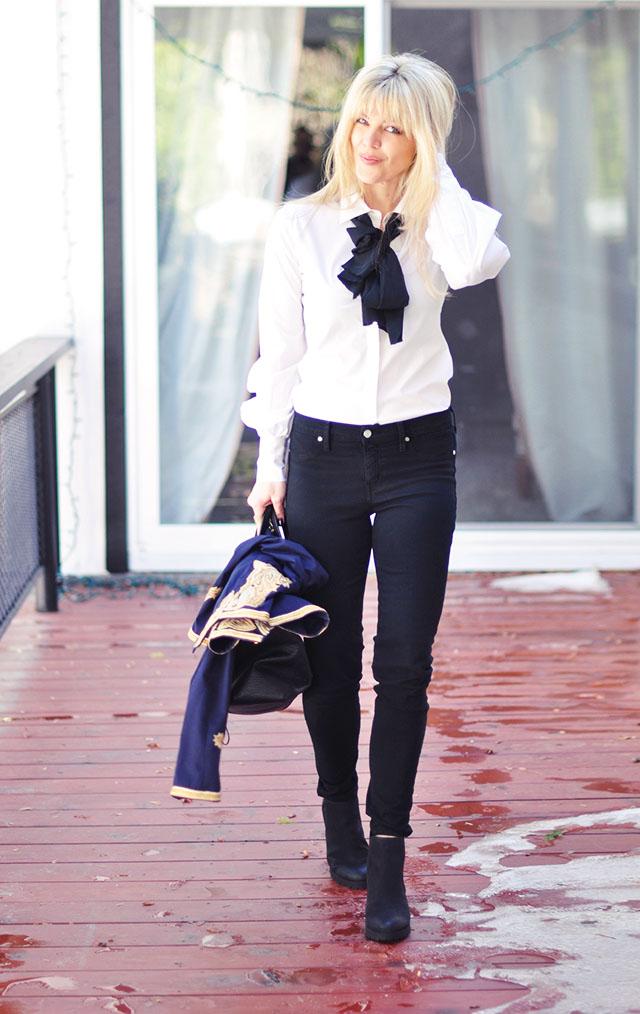black jeans - white button down