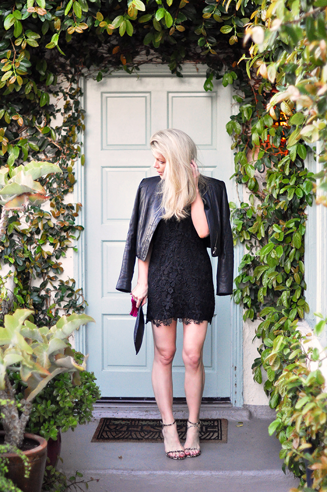 black lace mini dress_mint door_chateau marmont