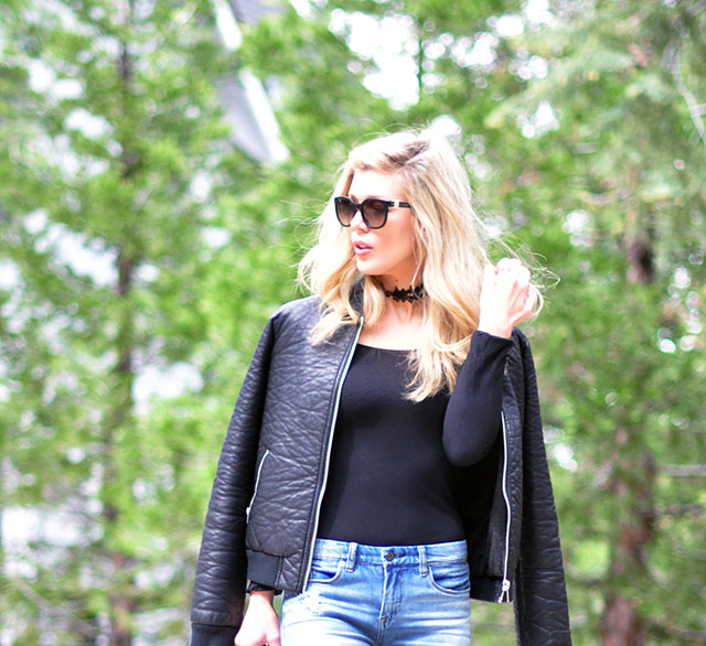 black leather bomber jacket_bodysuit and jeans
