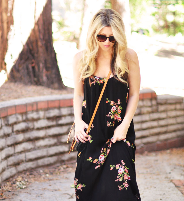 black maxi dress with flowers