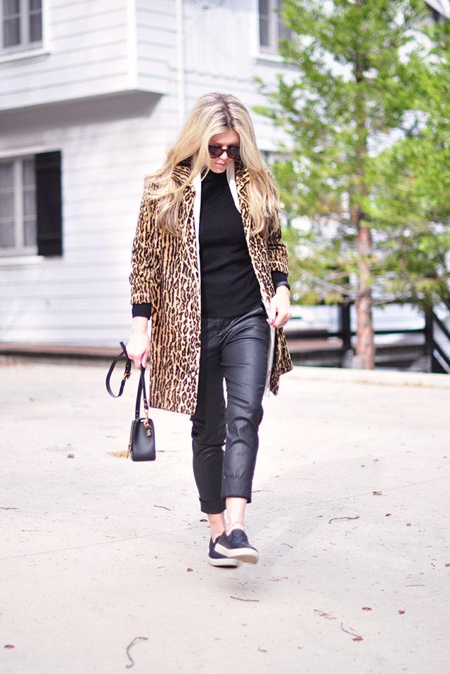 black on black + leopard coat