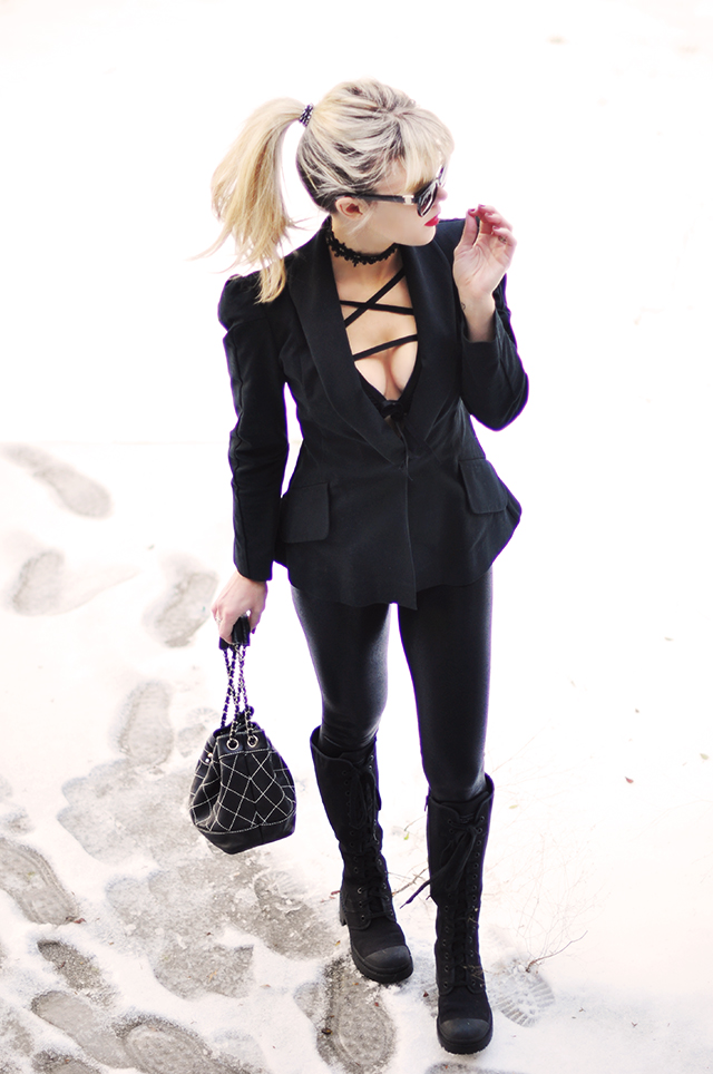black on black NYE in the snow_Chokers_Chanel_Strappy layering top