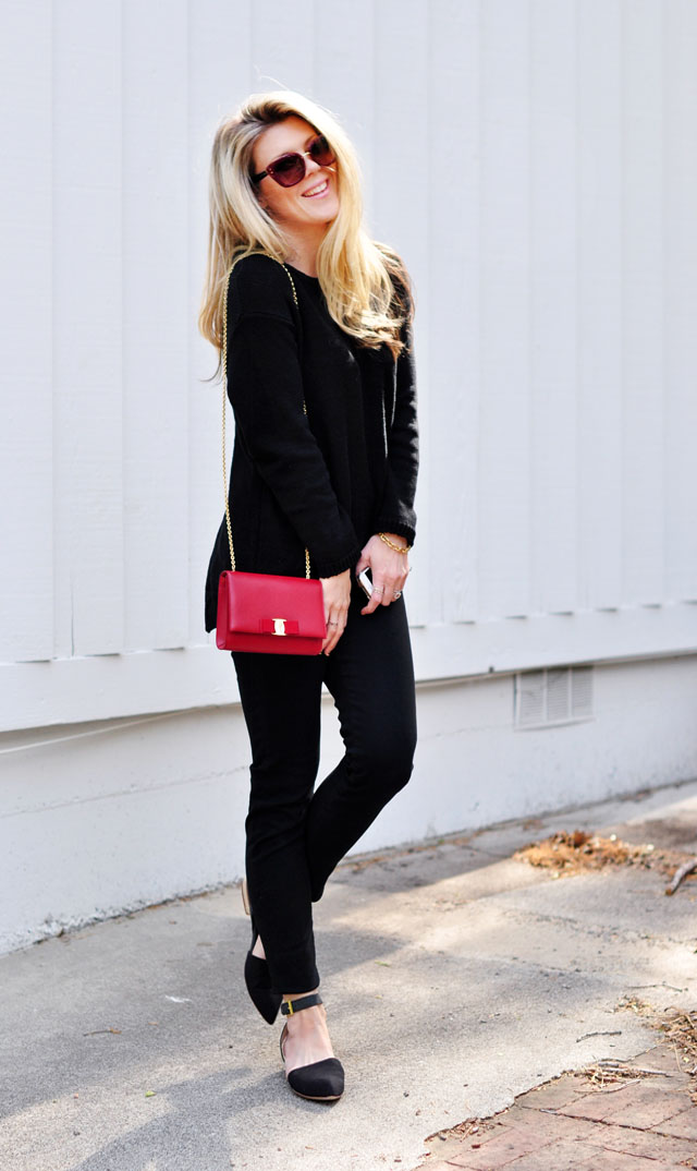 black on black-date outfit- red bag